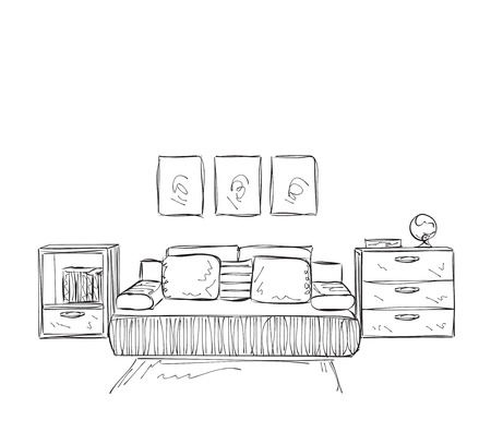 furniture design: Bedroom modern interior vector drawing isolated on white background