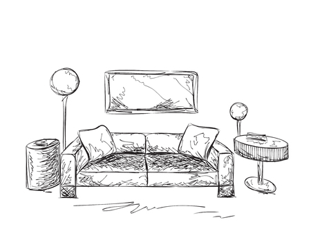 drawing room: Hand drawing sofa and table. Room interior.