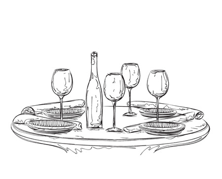 setting table: Hand Drawn dinner wares. Glasses and plate. Illustration