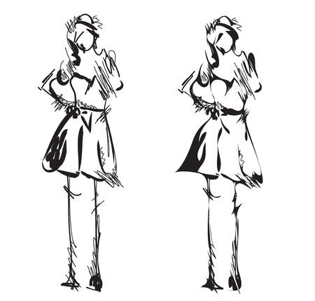 supermodel: Fashion models sketch. Cartoon girl in the dress