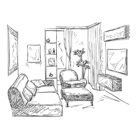 livingroom: Modern interior room sketch. Hand drawn illustration. Illustration