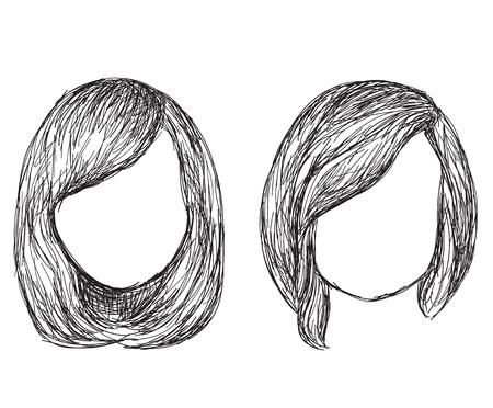 coiffure: Hand drawn fashion hair styles. Hairdo sketch.