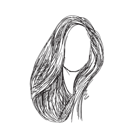 wig: Hand drawn wig. Long hair sketch of the line. Illustration