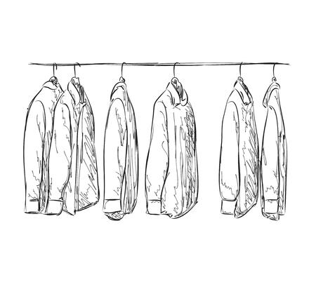 Kleiderschrank gezeichnet  Kleiderschrank Skizze. Hand Gezeichnet Kleidergeschäft. Kleid Und ...