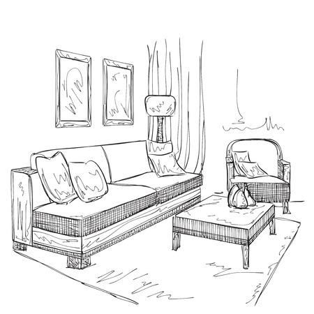 modern interior: Modern interior room sketch. Hand drawn furniture.