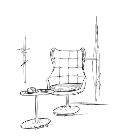 outdoor chair: Hand drawn chair and table. Place for relax. Cafe sketch