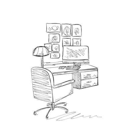 work place: Work place sketch. Hand drawn furniture for office Illustration