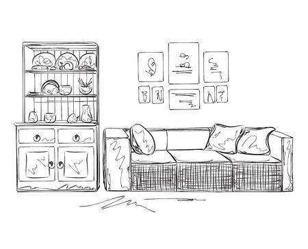 dibujos lineales: bosquejo espacio interior moderno. Mano sofá y muebles dibujado .. Vectores
