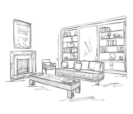 interior design: Modern interior room sketch. Hand drawn sofa and furniture..