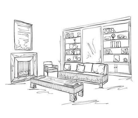 Modern interior room sketch. Hand drawn sofa and furniture..
