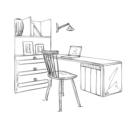 office work: Work place sketch. Hand drawn furniture for office Illustration