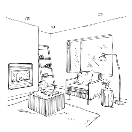 modern interior: Modern interior room sketch. Hand drawn chair and furniture..