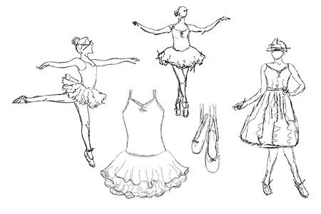 Hand drawn Ballerina danse. Tutu et robe croquis.