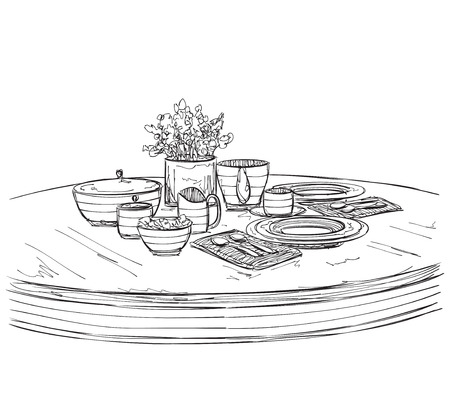 setting table: Table setting set. Weekend breakfast or dinner. Hand drawn dishes sketch