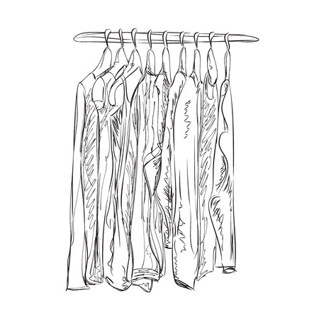 clothes shop: Hand drawn wardrobe sketch. Clothes shop. Outerwear