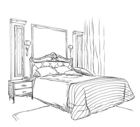 luxury interior: Modern interior drawing isolated on white background. Luxury interior