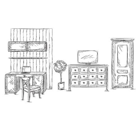 modern interior: Modern interior room sketch. Hand drawn workplace and furniture. Illustration