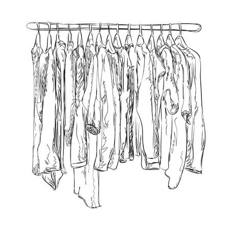 outerwear: Hand drawn wardrobe sketch. Clothes shop. Outerwear