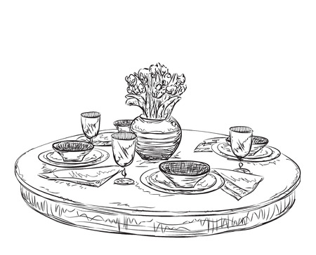 table setting: Table setting set. Weekend breakfast or dinner. Hand drawn dishes sketch
