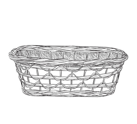 wicker: Hand drawn picnic basket isolated on white background. Sketch illustration of willow basket.