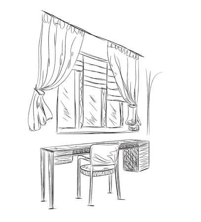 comfortable: Sketch interior comfortable workplace. Room interior with table and chair Illustration