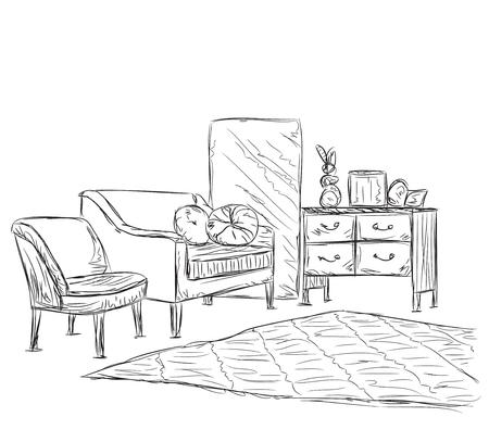 modern interior: Modern interior room sketch. Hand drawn sofa and chair