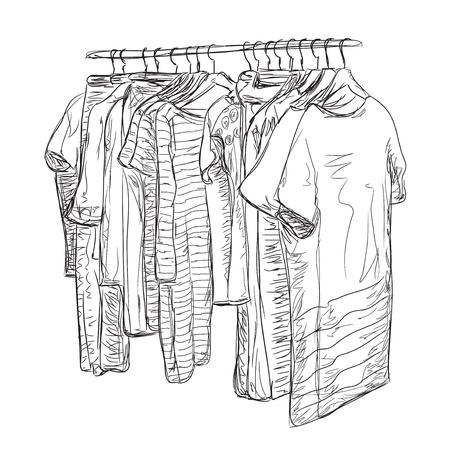 clothing stores: Wardrobe sketch. Hand drawn clothes shop. Dress and clothes for woman. Illustration