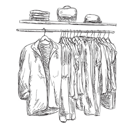 clothes shop: Sketched wardrobe. Hand drawn clothes. Clothes shop Illustration