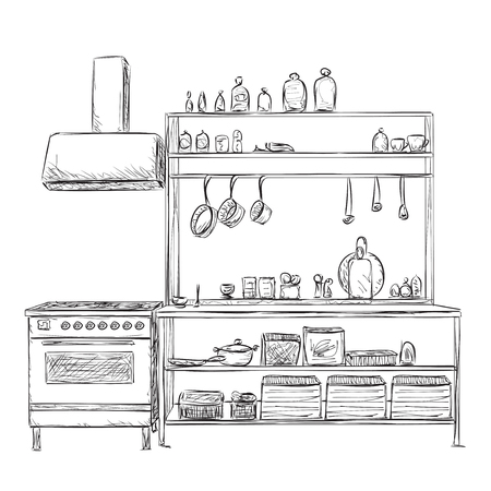 Kitchen cupboard, kitchen shelves. Hand drawn interior