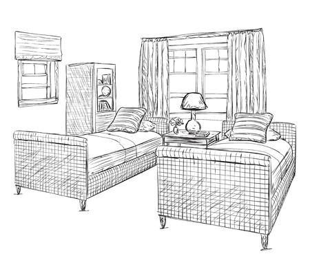bedroom furniture: Modern double bedroom with furniture. Hand drawn sketch illustration Illustration