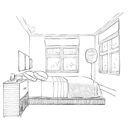 bedroom furniture: Modern bedroom with furniture. Hand drawn sketch illustration