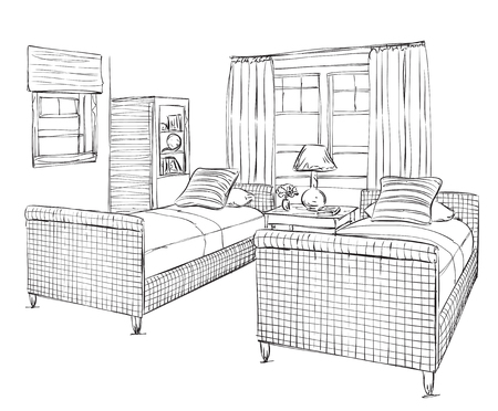 bedroom furniture: Modern double bedroom with furniture.
