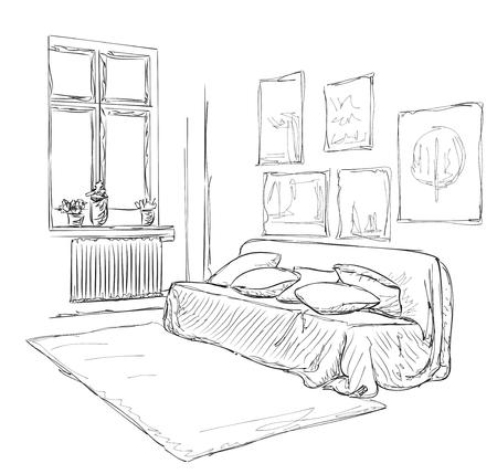 modern interior: Modern interior room sketch.