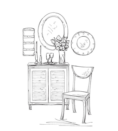 vanity table: table, chair and mirror sketch. Romantic interior with flowers Illustration