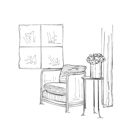comfortable chair: interior. Table and chair sketch. Comfortable furniture
