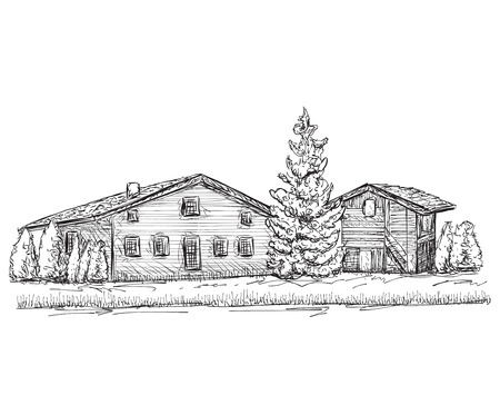 lodge: house sketch. Doodles tree. Village house in the forest.