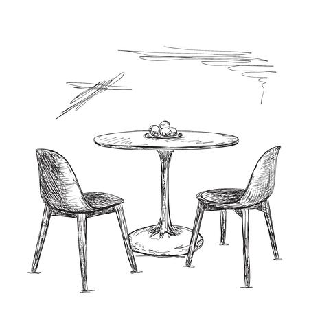 Stuhl gezeichnet  Hand Gezeichnet Stuhl, Tisch Und Spiegel. Schminktisch Lizenzfrei ...