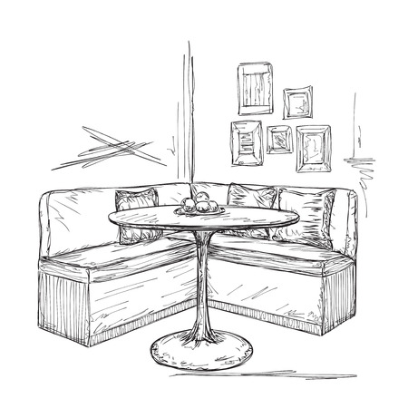 Hand drawn cafe or kitchen interior. Table and sofa sketch Vetores