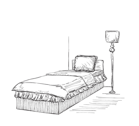 bedroom furniture: Vector illustration of bedroom furniture. Hand drawn furniture set made in linear style.
