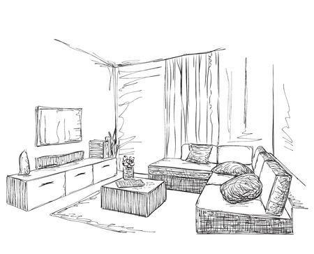 modern interior: Modern interior room sketch. Hand drawn illustration. Illustration