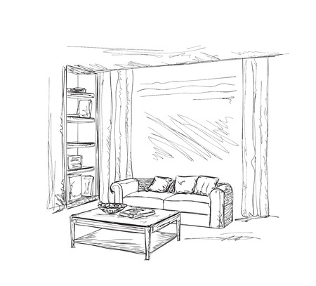 modern apartment: Modern interior room sketch. Hand drawn illustration. Illustration