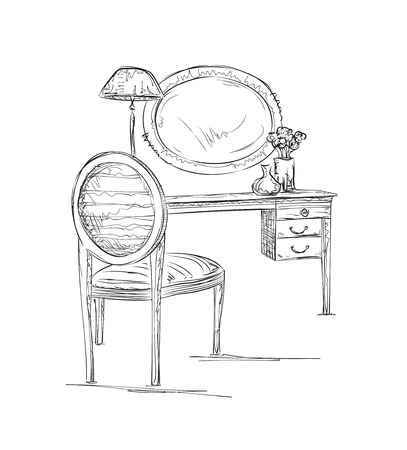 vanity table: Hand drawn chair, table and mirror sketch. Interior sketch