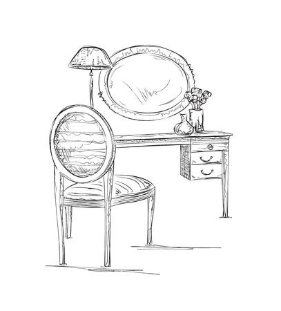 Hand gezeichnet Stuhl, Tisch und Spiegel Skizze. Inter Skizze