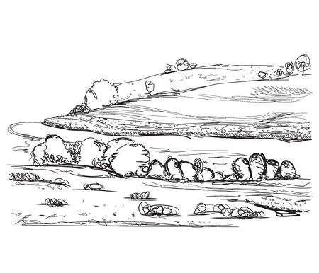 agrarian: Hand drawn landscape sketch. Village and field