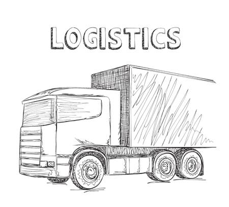 hand truck: Delivery service. Hand drawn truck sketch. International transport.