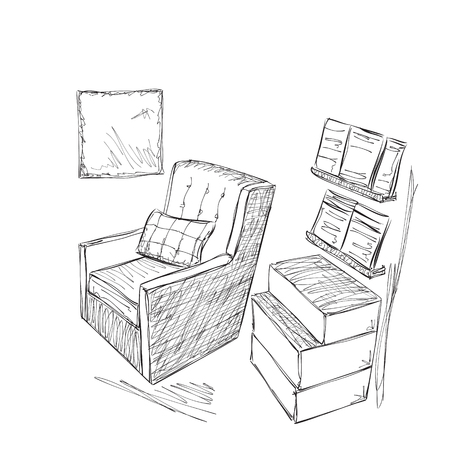 ha: Place for reading with chair sketch. Ha