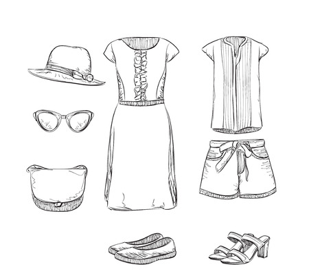 summer clothes: Summer clothes sketch. Hand drawn clothes for girl Illustration
