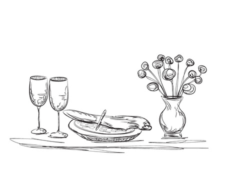 romantic dinner: Hand Drawn dinner. Flowers and dishes. Romantic dinner