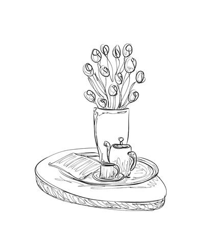 desayuno romantico: Dibujados a mano de mercancías del té de la cena. desayuno romántico