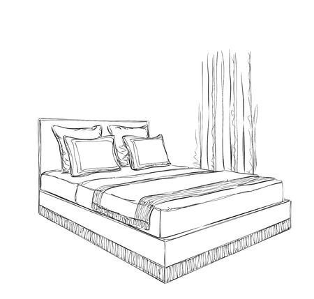 Interior design of the classic bedroom with double bed